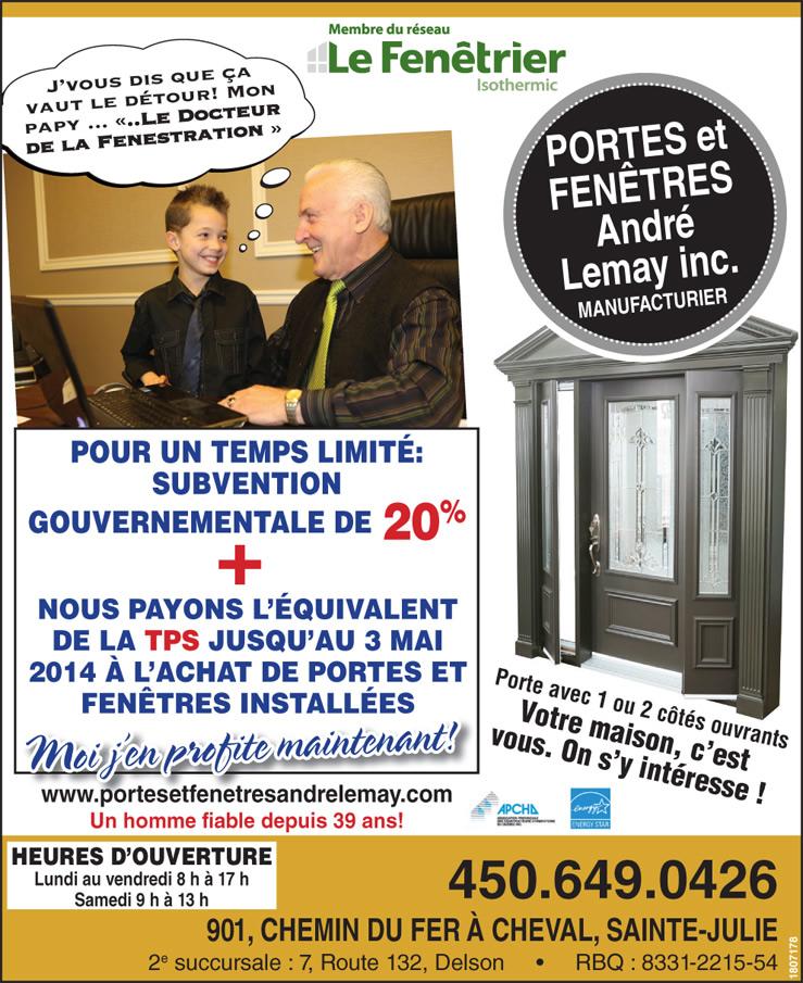 Prix en spécial ou en promotion de portes et de fenêtres sur la rive-sud de Montréal - Commerce de porte et fenêtre de Sainte-Julie et de La Prairie